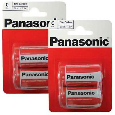 New 4 Pack of Panasonic C Battery Batteries Zinc Carbon R14 1.5V Exp +2 Years