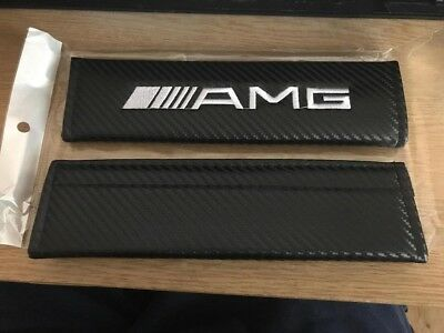 1 x Mercedes AMG Carbon Car Seat Belt Cover Pad Gift, A,C,D,E Class, SLK - New!