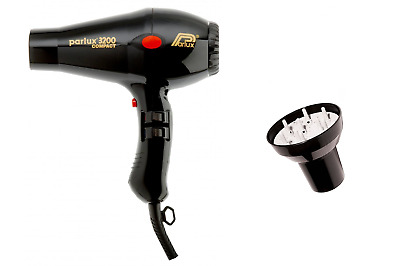 Parlux 3200 Black Compact Ceramic  Hair Dryer and Hair Tools Universal Diffuser