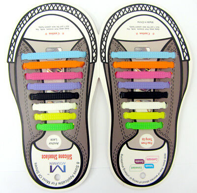 Easy No Tie Elastic Shoe Lace Silicone Trainers Shoes Adult Kids Shoelaces 16pc