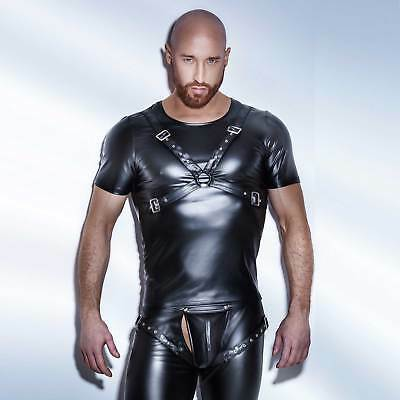 NOIR HANDMADE Wetlook Harness Top Powerwetlook Riemen Shirt für Herren Strap Top