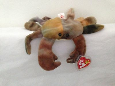 TY Beanie Babies - Claude The Crab 1996 PVC Pellets *Very Rare* with Tag Errors