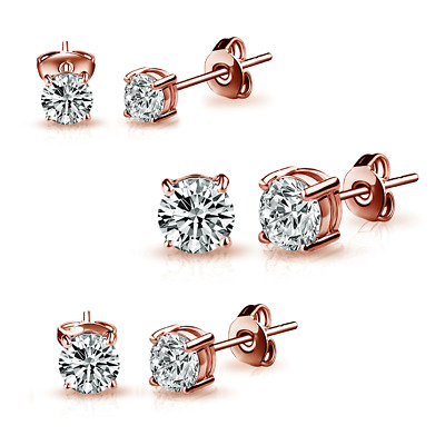 Three Pack of Rose Gold 4mm, 5mm & 6mm Earrings Created with Swarovski® Crystals
