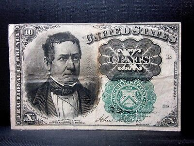 10C Fractional Currency ✪ Vf Very Fine ✪ 5Th Issue Green Seal L@@k I39 ◢Trusted◣