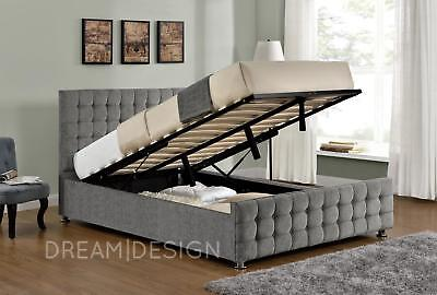 Ottoman Storage Bed Frame Silver Velvet Chenille Double King Size and Mattress