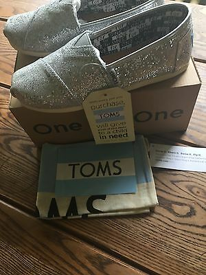 Toms, sparkly silver size girls 2 slip on shoes, back to school