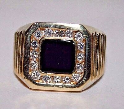 Vintage 14K Yellow Gold with Onyx Framed in 16 Diamonds Men's Ring