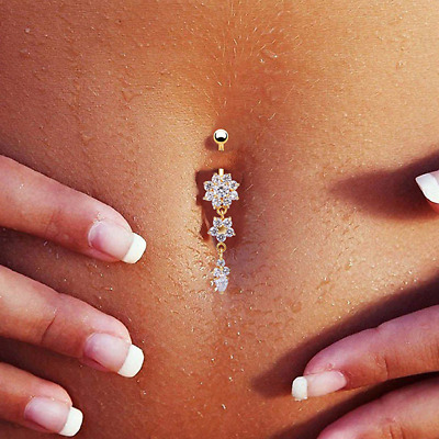White Rhinestone Leaves Belly Button Rings Body Piercing Navel Rings Body
