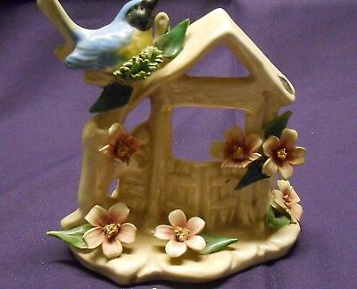 Nuova Capodimonte Blue Bird on a Wishing Well Roses Italy with Original Paper