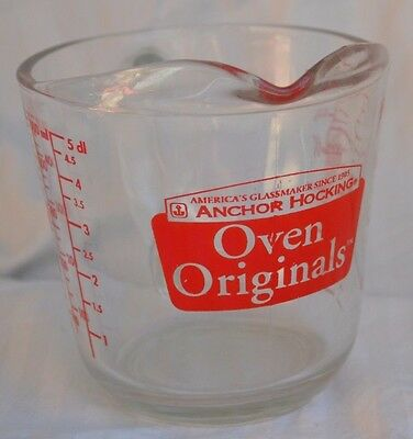 Anchor Hocking Oven Original 2 Cup Glass Measuring Cup 16oz. Fantastic Condition