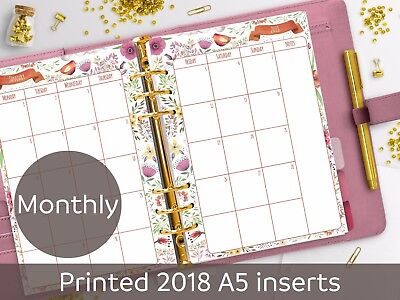 2018 A5 planner inserts - MO2P - Month on 2 pages - planner refill - Filofax A5