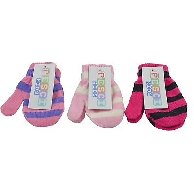Baby Mittens Knitted 3 Pack Girls Striped Pink Winter Autumn Toddler Infant