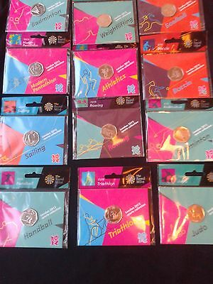 Olympic 50p sport coins, new and all in sealed royal mint hanging bags