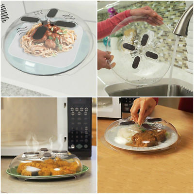 Anti-Sputtering Cover w/ Steam Vents Clear Food Splatter Guard Microwave Hover w