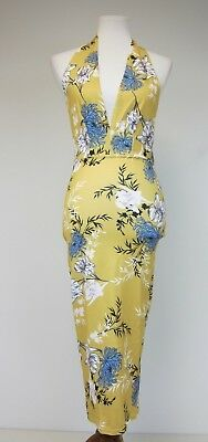 Pretty Little Thing Floral Halterneck Midi Dress - US 4 - Yellow - NWT