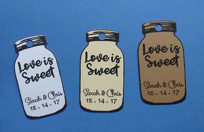 20 CUTE personalized Wedding favor tags! Mason Jar shaped, Love is Sweet!