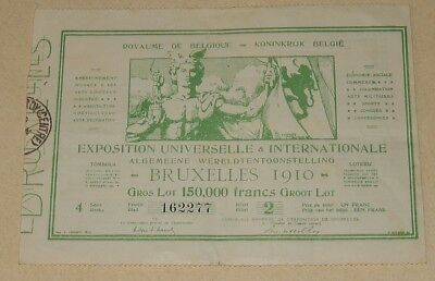 RARE Billet 1910 EXPOSITION UNIVERSELLE & INTERNATIONALE BRUXELLES