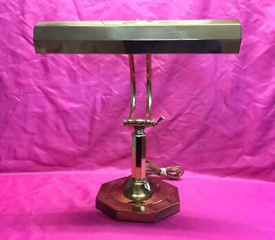Vintage Large Brass Octagon Piano Bankers Adjustable 2 Bulbs Desk Lamp  - Rare!