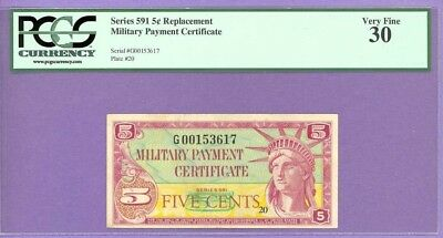 Series 591 RARE 5¢ REPLACEMENT NOTE (MPC) PCGS 30 G00153617