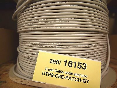 1600ft Hyperline Grey 24 AWG*2P Stranded Comms Cable UTP2-C5E-PATCH-GY 16153