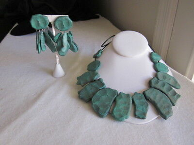 Green Wood on Leather Cord, Necklace and Earring set
