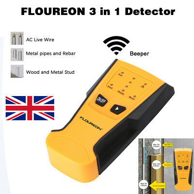 LED 3in1 Multi Detector Stud Center Finder Metal AC Live Cable Wire Scanner Beep