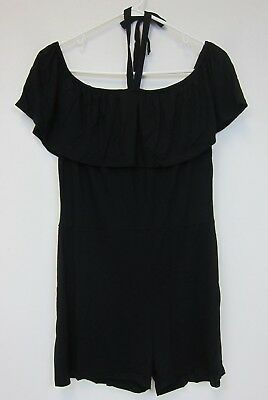 Boohoo Beth Frill Off the Shoulder Playsuit - US 10 - Black - NWT