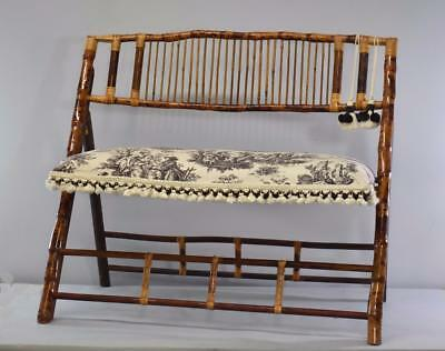 Asian Style Bamboo Upholstered Fold Up Bench
