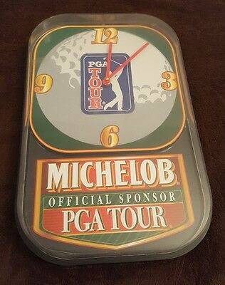 Vintage Michelob Beer PGA Tour Sign Clock 1990s 15x10 Anheuser-Busch Works Golf