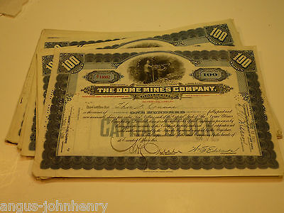 DEALERS WHOLESALE LOT of 25 DOME MINES CANADA STOCK CERTS MINING - BLUE
