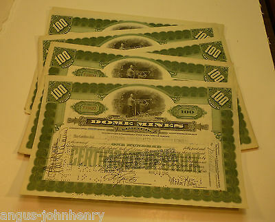 DEALERS WHOLESALE LOT of 25 DOME MINES CANADA STOCK CERTS MINE MINING - GREEN
