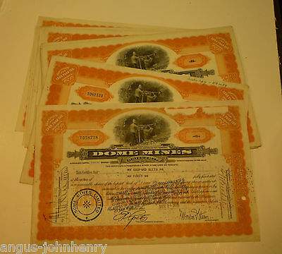 DEALERS WHOLESALE LOT of 25 DOME MINES CANADA STOCK CERTS MINE MINING - ORANGE