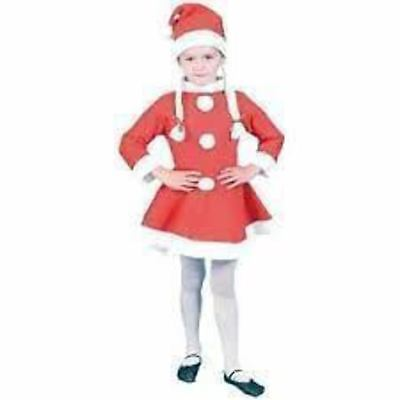 KRAFTZ® Christmas Xmas Santa Girl Dress Mini (10-12 years) & Santa Cap Set