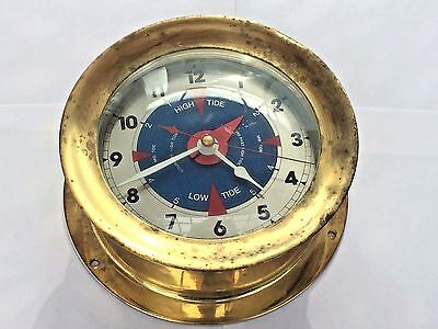 Vtg Heavy Schatz & Sohne Brass Ships Clock High Low Tide West Germany Quartz