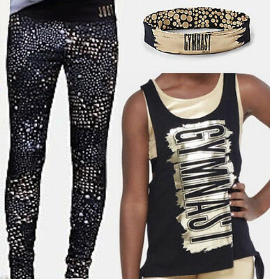 Justice 3 Pc NWT Sz 16-18 Gymnast Gold Tank, Leggings & Gymnast Headwrap