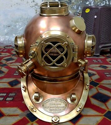 U.s Navy Mark V Solid Heavy Model Diving Divers Helmet Copper Brass Only 5 Pcs