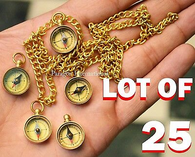 Lot of 25- Working MINI Compass Necklace With Chain Maritime -Paragon INT