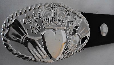 """Stunning  Solid Silver """"The Claddagh"""" Belt Buckle"""