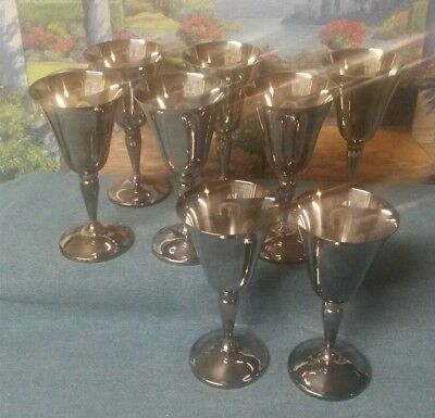 Vintage Lot of 8 Silverplate Wine Goblets - Made in Spain