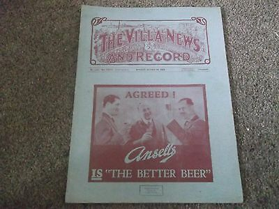 Rare Vintage Pre War Programme Aston Villa V Barnsley 24Th October 1936 1936/37