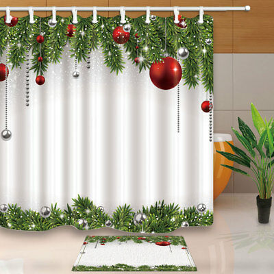 Christmas balls and spruce twigs Shower Curtain Bathroom Decor Fabric & 12hooks
