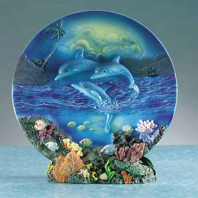 "Dolphin Plate and Base.  7 1/2"" in diameter ~ 29007 ~ New"
