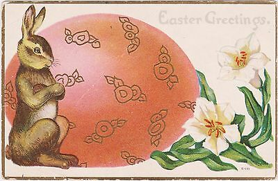 "Rare Posted Divided Back Embossed Easter Bunny Postcard ""easter Greetings"" Nice"