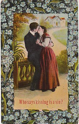 """Rare Posted 1911 Divided Back """"who Said Kissing Is A Sin?"""" Valentine Postcard"""