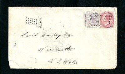 1872 Cover Bombay India Postmark tied Numeral 1 to Australia 8 Pies 8 Annas
