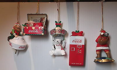 Coca-cola 5 Classic Christmas Ornaments - NIB
