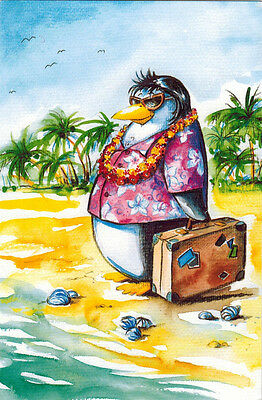 PENGUIN CAME FOR VACATION TO WARM COUNTRY Modern Russian postcard