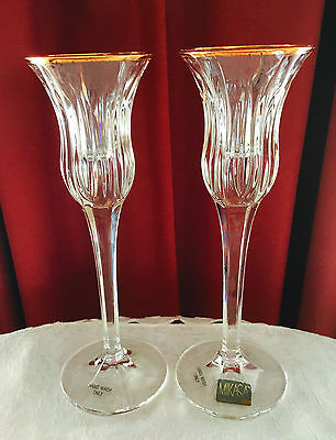 Two Mikasa Germany Crystal 'icicles' Pattern With Gold Trim Candle Stick Holders