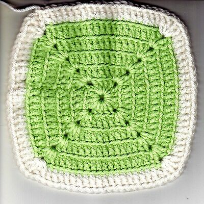 "Hand Crocheted Granny Square Potholder Dishcloth Green W/ White Border 7"" Square"
