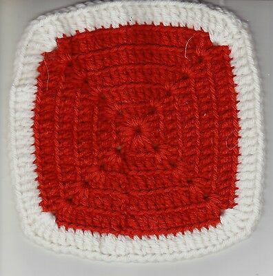 "Hand Crocheted Granny Square Potholder Dishcloth Rust W/ White Border 7"" Square"